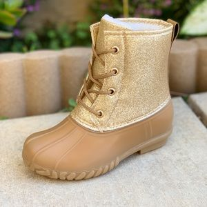 NEW ARRIVALS**GIRLS SHINNY GOLD LACE UP DUCK BOOTS